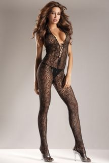 New Sexy Black Lace Up Halter Top Body Stocking w Zigzag Design