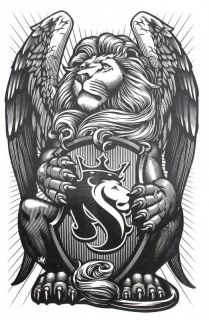Ogabel Temporary Body Tattoo Sticker Decal Skin Removable Winged Lion