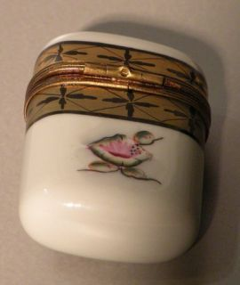 White Matches Box w Flower No 87 Porcelain Limoges Box