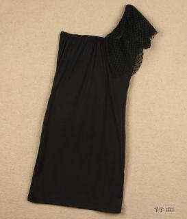 New Hot Little Black Dress Micro Mini Dress Asymmetric One Shoulder