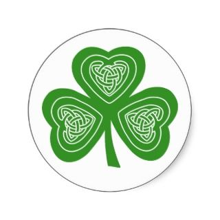 Celtic Shamrock Leaf Irish Themed Design Round Stickers