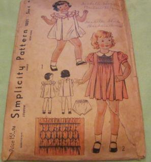 Vintage Original Little Girls Dress Play Suit Patterns 1930S