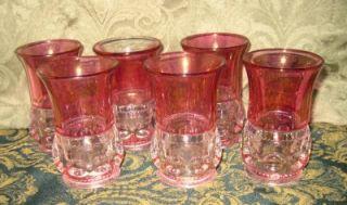 Tiffin Kings Crown Thumbprint Cranberry Glass 4 oz Flat Juice