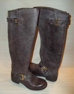 200 Steve Madden Lindley Leather Riding Boots Brown Zipper Moto