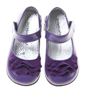 Girls Toddler Little Blue Lamb Purple Patent Leather Lined Shoes Sizes