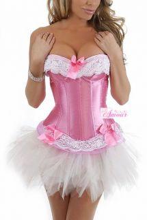 Sexy Pink Satin Victorian Corset burlesque Costume /w Tutu Skirt