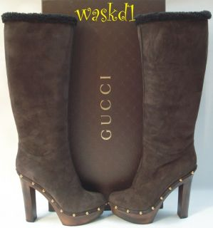 GUCCI brown SHEARLING logo JOPLIN Wooden PLATFORM zip Knee boots NIB