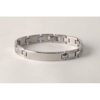 Mens ID Square Stainless Steel Link Chain Bracelet 00500700
