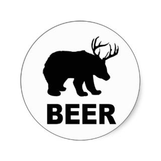 Bear Deer Beer? T shirt Stickers