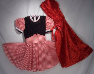 Little Girl Red Riding Hood Dress Halloween Costume Party Size 4 6