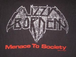 1986 Lizzy Borden Vtg Menace to Society T Shirt Tour L