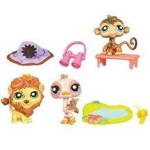 Littlest Pet Shop Set Postcard Pets 3 Animals Lion Ostrich Monkey