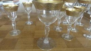 Tiffin Minton Gold Encrusted Wine Goblets Liqueurs 14 Pieces