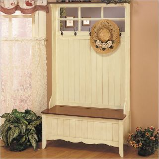 Powell Furniture French Country Hall Tree with Storage Bench [14192]