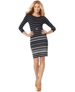 AK Anne Klein Dress, Three Quarter Sleeve Striped Sweater Dress