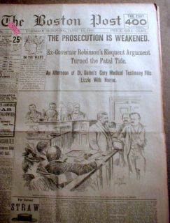 16 Best 1893 Local Newspapers Lizzie Borden Trial Fall River AX