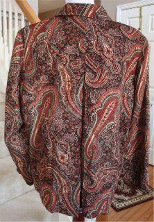 Coldwater Creek Rust Paisley Cotton Rayon Blend Button Jacket 1x
