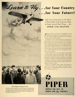 1942 Ad Piper Cub Trainer Aircraft Lock Haven World War II Wings Pilot