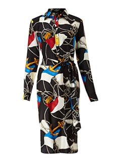 Lauren by Ralph Lauren Sana silk printed shirt dress Black