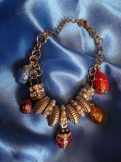 Russian Charm Bracelet Eggs Lady Bug Heart Locket 36