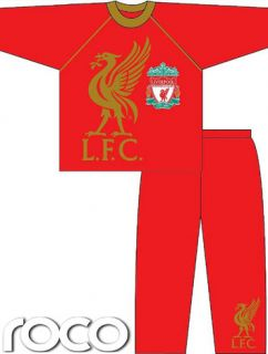 Boys Official Liverpool Football Club Pyjamas Set Red Cotton PJs Size