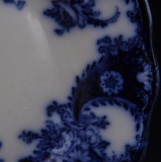 Pottery Flow Blue Plate 9 Lois 1878 1894 Embossed Dark Color