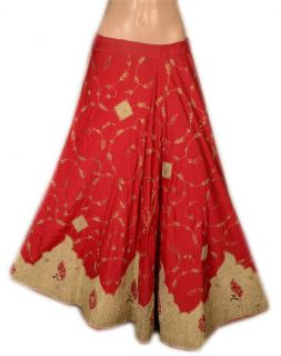 Zardozi Indian Lehenga Long Skirt Women Peacock Design Red