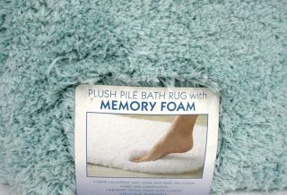 Plush Bath Rug w Memory Foam 21 x 34 Aqua New