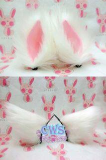 Lolita White Pink Black Fluffy Sweet Cosplay Cat Ears Anime Hair Clips