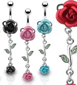 Rose Dangle Belly Navel Rings Vanzy Body Jewelry Piercing Lot of 4