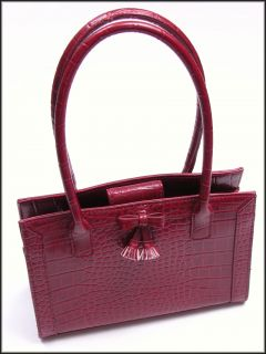 Liz Claiborne Small Red Crocodile Print Handbag Purse