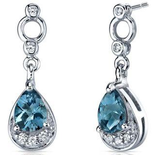 50 cts London Blue Topaz Dangle Earrings in Sterling Silver Rhodium