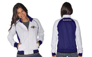 Baltimore Ravens Womens White Purple Sprint Track Jacket