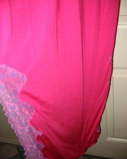SS4U Pink Long Gown Pink Purple Lace Trim Criss Cross Large