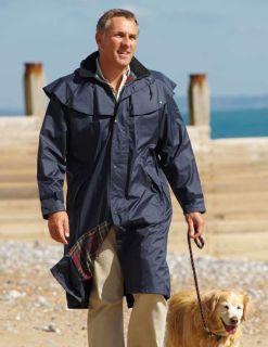 Mens Long Full Length Waterproof Riding Rain Coat Blue or Green Sizes