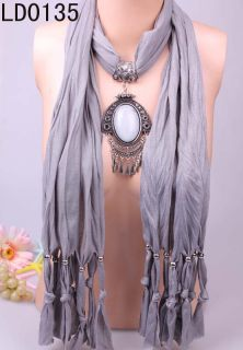 Fascinating Women Long Necklace Scarve Shawl Pendant Chic Stone LD0135