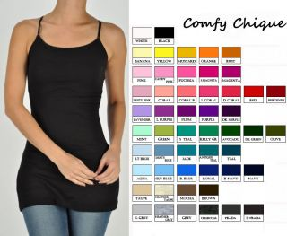 Long Lean Cami Camisole Tunic Tank Top s XXXL Sizes 0 20 All Colors No