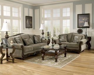 Traditional Sofa & Love Seat Living Room Furniture Set Exposed Wood