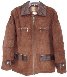 Western Vtg Silverleaf® Suede Long Barn Coat Leather Jacket M Brown