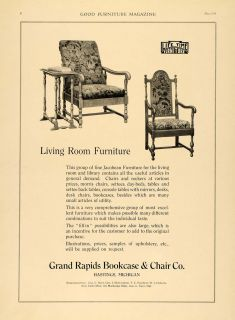 Grand Rapids Bookcases Chairs Living Room Set   ORIGINAL ADVERTISING