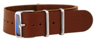 Saddle Leather NATO Style Military Watch Band Timex Solid Strap