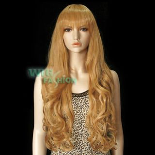 Resistant Long Blonde Brown Fashion Party Hair Wig with Bangs