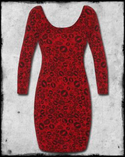 of Death Red Black Lipstick Skulls Long Sleeve Scoop Neck Dress