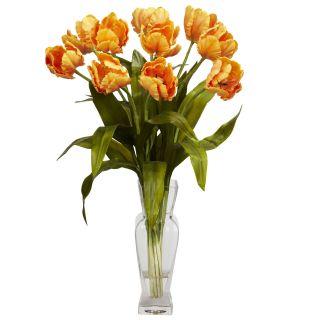 24 Silk Tulip Glass Vase Flower Arrangement Nearly Natural