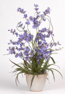 Silk Orchid Purple Flower Arrangement w Ceramic Pot