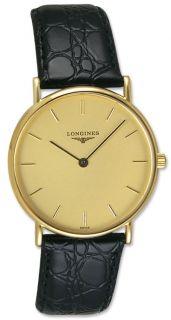 Longines Presence 18kt Gold Mens Luxury Swiss Quartz Strap Watch L4