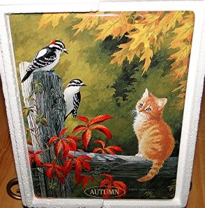 Nosy Neighbors Wall Clock Persis Clayton Weirs Autumn Gold Cat Kitten