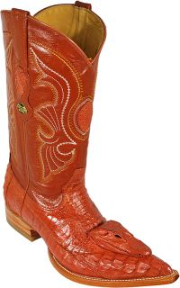 LOS ALTOS~COGNAC GENUINE CROCODILE HEAD W/ EYES AND TEETH COWBOY BOOTS