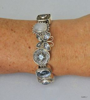 925 Sterling Silver Gemstone LORI BONN Charm Bracelet BLUE JEAN BABY