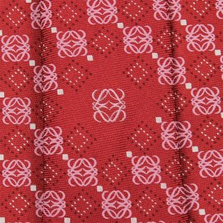 Loewe Tie Mundo Loewe Logo on Red Silk Necktie
